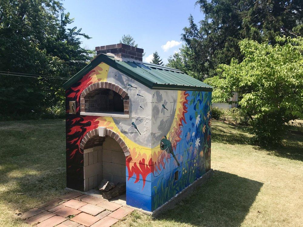Painted-fire-brick-pizza-oven-jefferson-city-mo-four-quarters-art-house