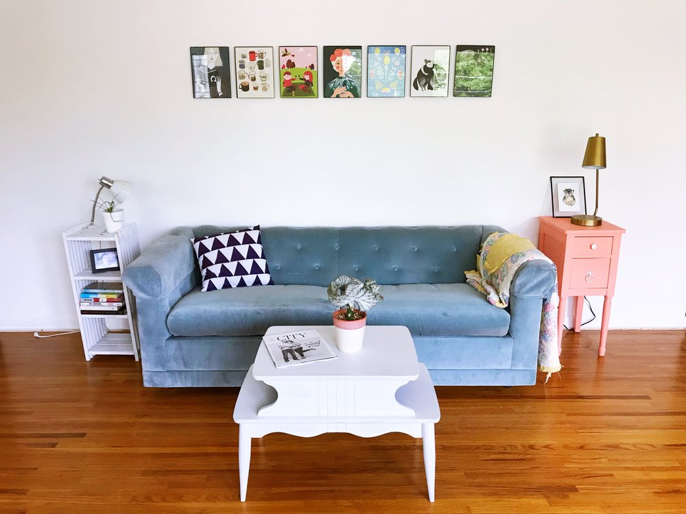 mid-century-modern-eclectic-home-interior-design-blue-couch-jefferson-city-mo
