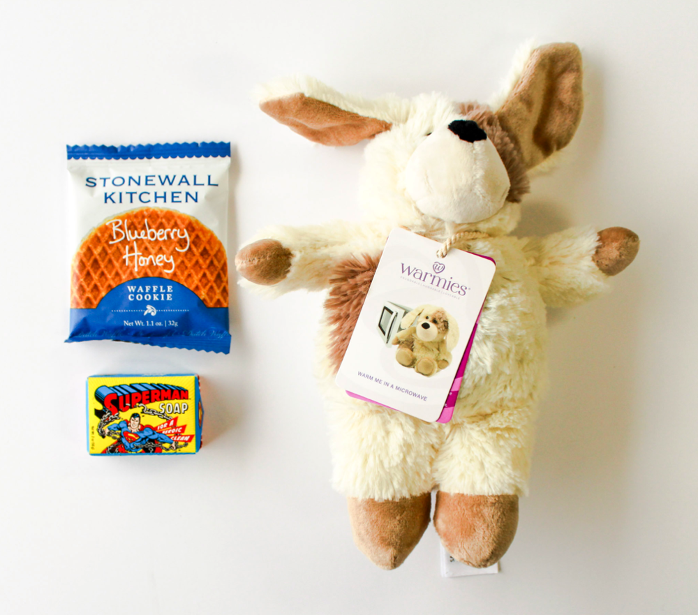 Southbank Gift Company  • Blueberry Honey Waffle Cookie, Superman Bath Soap, Lavendar-Scented Warmie Puppy