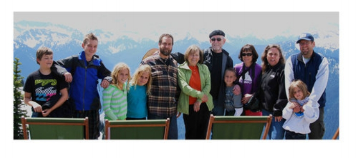 Miles, Sam, Violet Gottlieb, Juliet Gottlieb, Mark Gottlieb, Jan, Ron, Lucas, Jenny, Lisa Schoenberg-Gottlieb, Joel, Carly  One of the grandchildren is missing, Charlotte, Lisa and Mark's daughter, because she had to go home early.  The picture was taken on Crystal Mt, with Mt. Rainier in the background.