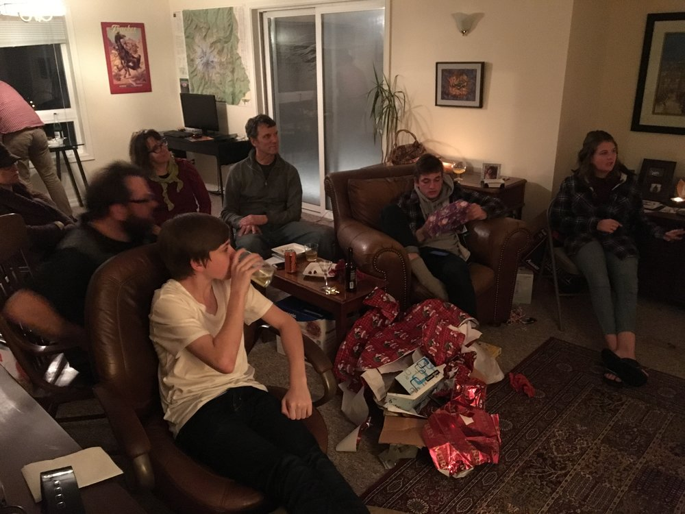 - More present opening.  From the Left, Lucas, Joel, Jenny, Scott, Sam (Joel's son), and Carly (Joel's daughter)