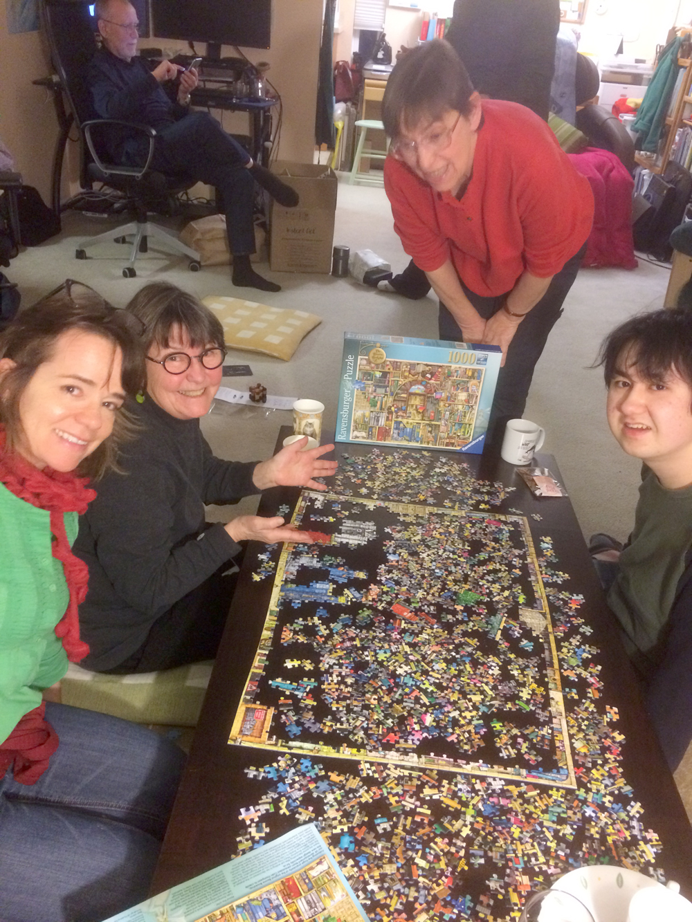- There's always a puzzle.  From the left, Jenny, Cathy, Sally, and Corwin.
