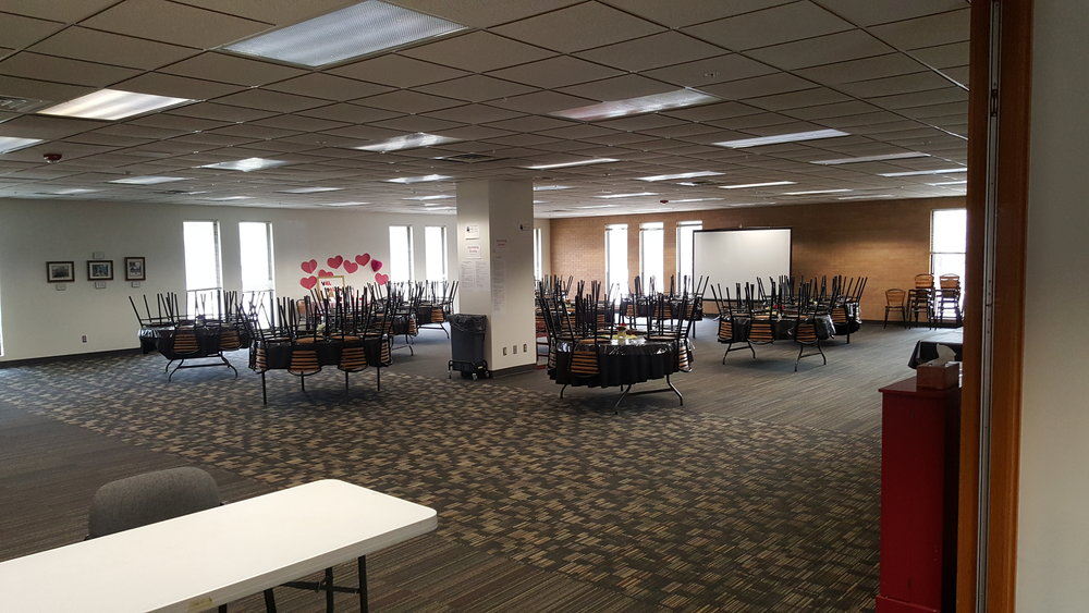 Fellowship Hall-  Banquet Style setup- ~150 people   Theater Style Setup- ~250 people  Classroom Style Setup- ~50 people