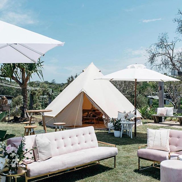 Sometimes the perfect venue for your celebration is in the outdoors! Dream and create you're very own bohemian chic backdrop at @elementsofbyron with teepees, plush sofas and linen awnings. 📷@theeventslounge