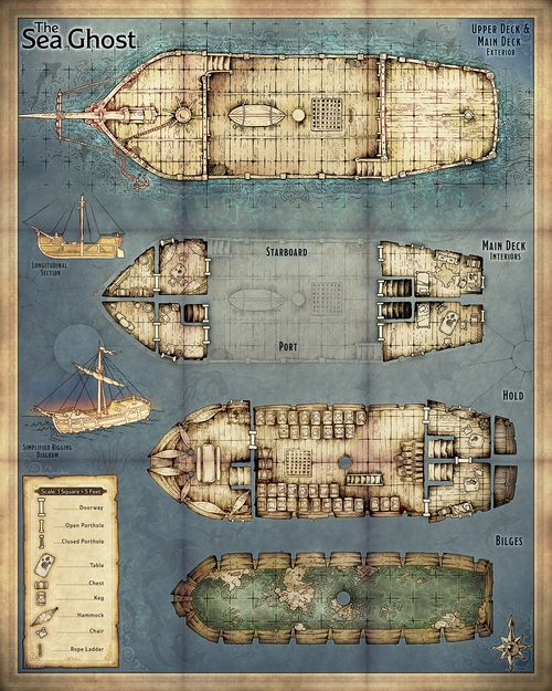 Ship Map Dungeon Maps Deck Plans Model Ships t