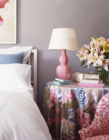{A colorful, floral skirt adorns this bedside round table. Traditional and fun. From  House Beautiful .}
