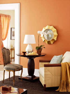 {Warm orange on your walls will create a GLOW in your home. From Tistory.com}