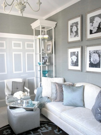 {Soothing, soft gray walls are fresh and calming. From  HGTV. }