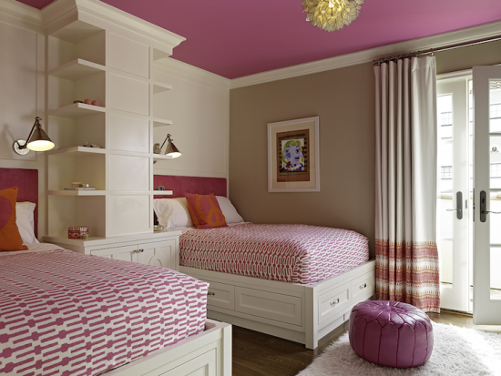 {Add a surprise to room with a bold color on the ceiling and a neutral color on the walls!}
