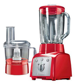 {Kenmore blender/food processor in red.}