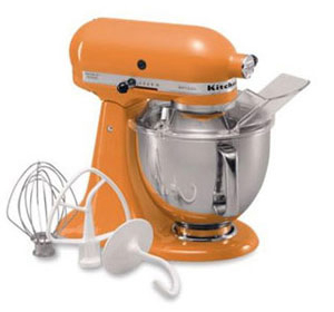 {KitchenAid Artisan Series stand mixer in tangerine, a trendy color in 2012.}