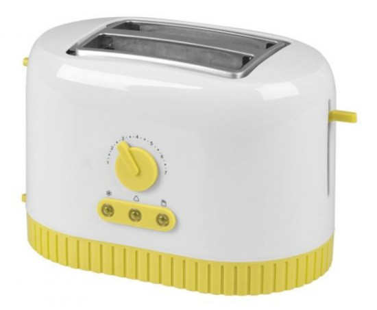 {Kalorik yellow toaster, a small pop of color.}