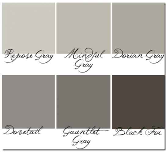 {These Sherwin Williams' grays range from light to dark and are pure grays, without a lot of purple or green undertones. Image from hypheninteriors.com.}
