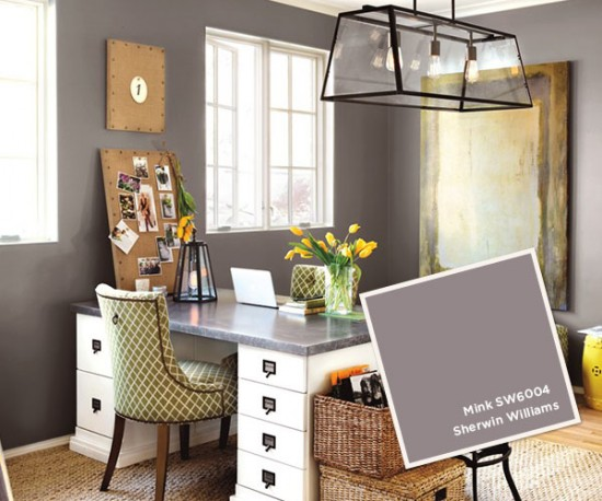 {Sherwin Williams' Mink is a rich gray with a touch of purple. Design from Ballard Designs.}