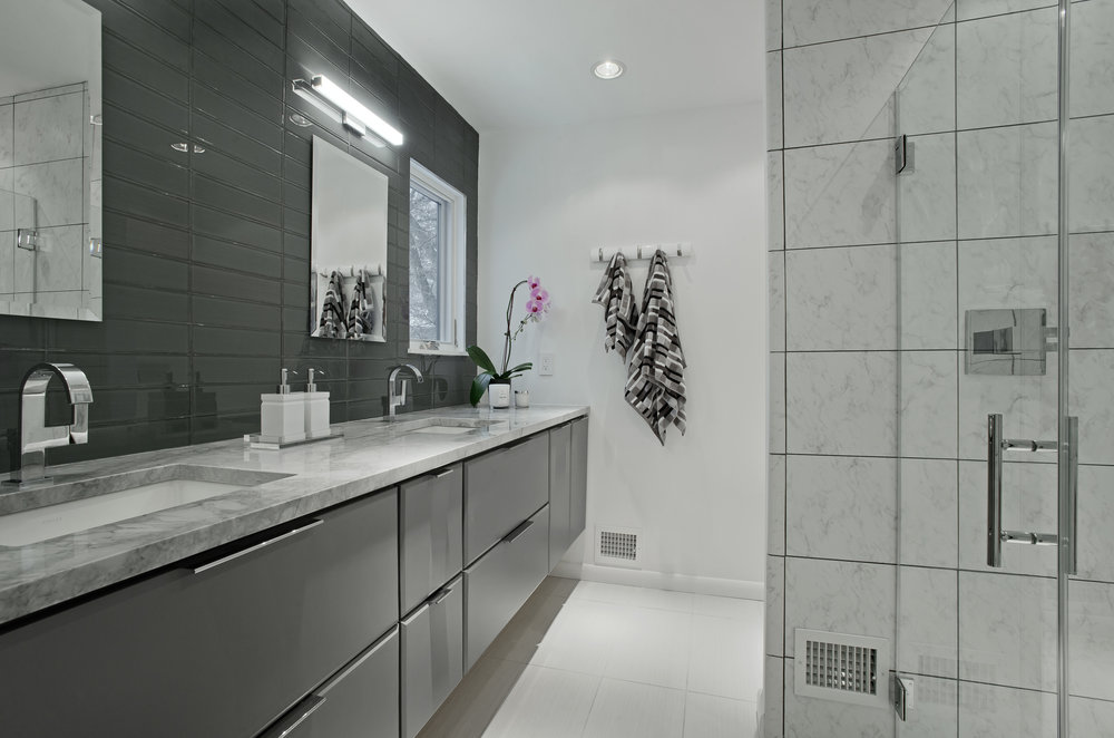 {Award-winning master bathroom in Columbia, Maryland.}