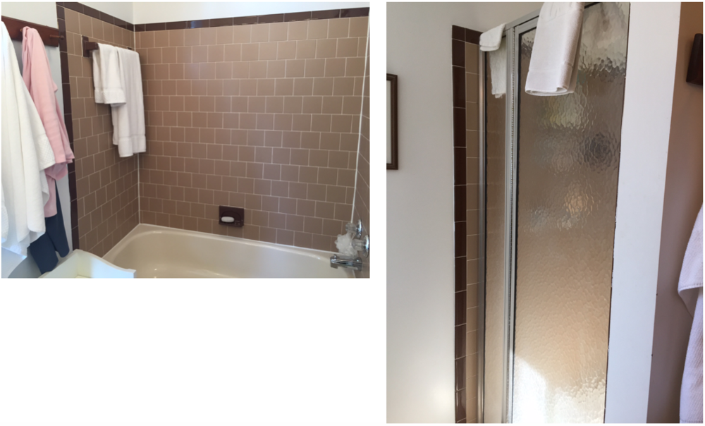 {BEFORE images of bathtub and shower stall in master bathroom.}