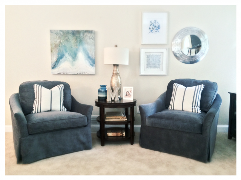 {Spin this way or that in these flared arm swivel chairs. Design by  April Force Pardoe Interiors .}