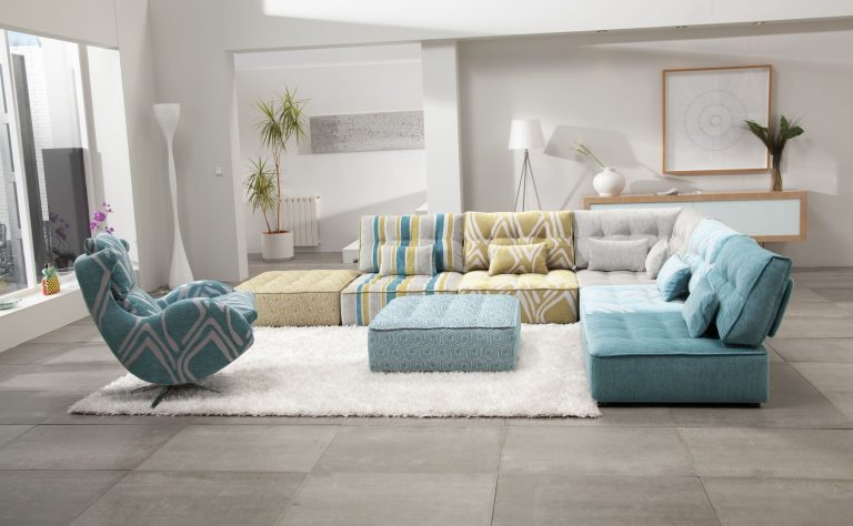 {What a fun, eclectic spin on traditional soft seating. Rearrange this spunky sectional any which way to keep things constantly fresh. From:  Cado Modern .}