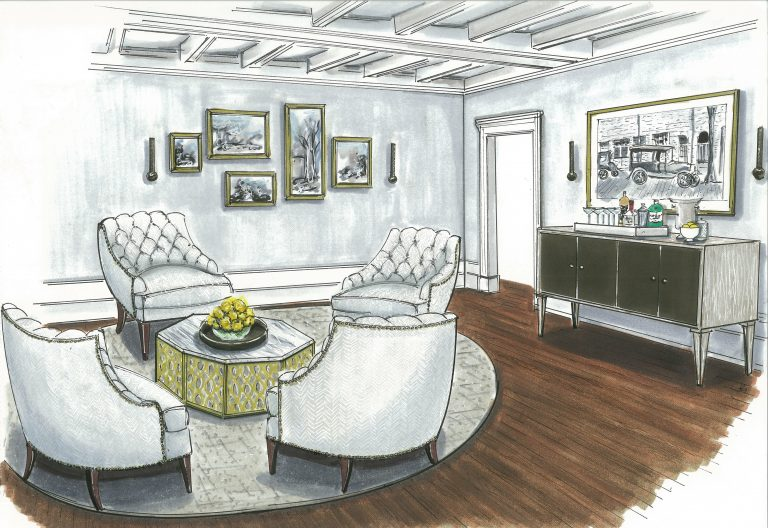 {These armchairs create quite a stunning space conducive to conversation. Design by April Force Pardoe Interiors. Illustration by Jane Gianarelli.}