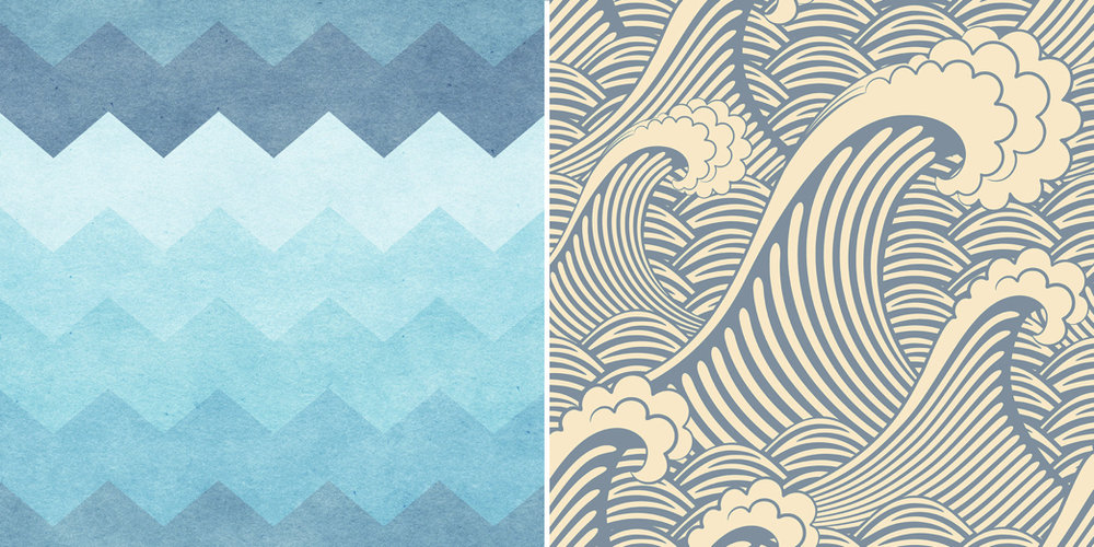 {Your vacation home is the perfect place to make a splash with thematic wallpaper. Right to left: Chevron Waves and Waves of Chic. From:  Walls Need Love .}