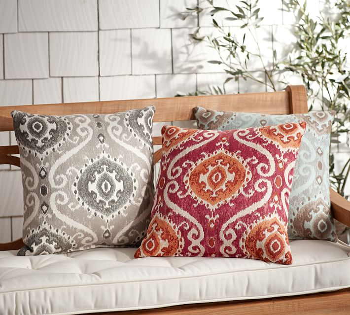 {Accent your outdoor seating with decorative yet durable throw pillows. From:  Sunbrella  for  Pottery Barn .}