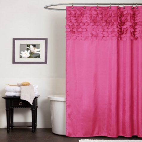 {I love the detail at the top of this pretty shower curtain. From  Sears .}