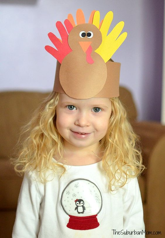 {Keep boredom at bay with fun holiday themed crafts, like this hand print turkey crown From: The Suburban Mom .}