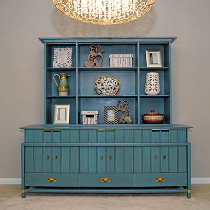 {Custom painted cabinet by  Lenehan Studios . Design by April Force Pardoe Interiors.}