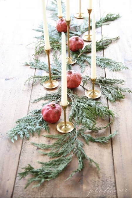 {Case in point that you don't have to sacrifice your simplistic style to include traditional holiday touches. From:  Julie Blanner }