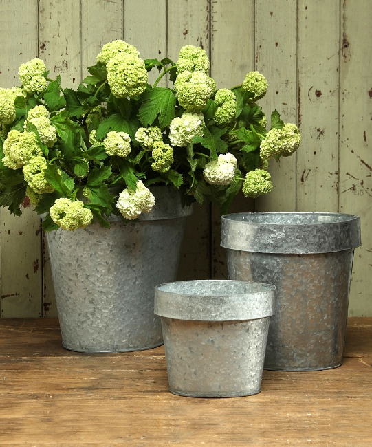 {This cluster of galvanized planters can sweetly dress up your front porch and help your colorful blooms pop! From: Bliss.}