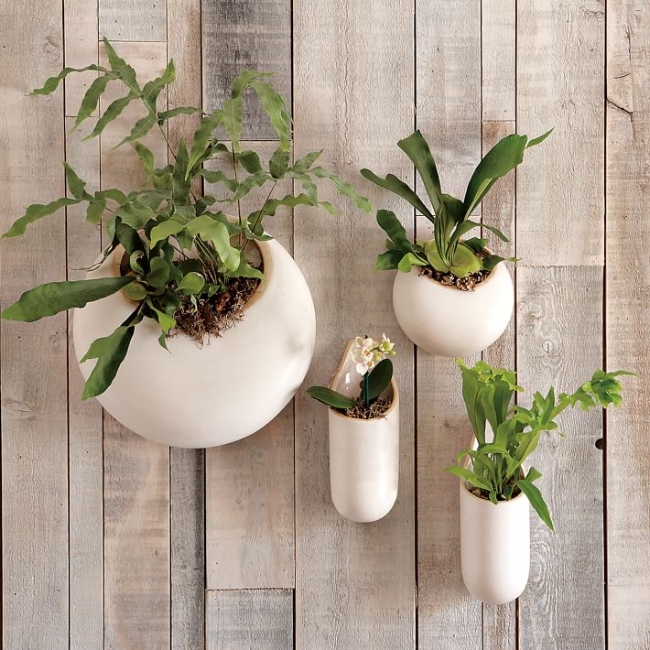 {Create living art outdoors with a vignette of these ceramic wall planters. Use varying textures and colors of foliage to up the interest factor even more. From: West Elm.}