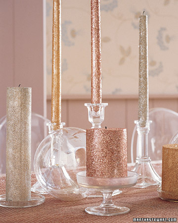 {Glitter candles - sparkle makes any table festive! From:  Martha Stewart .}