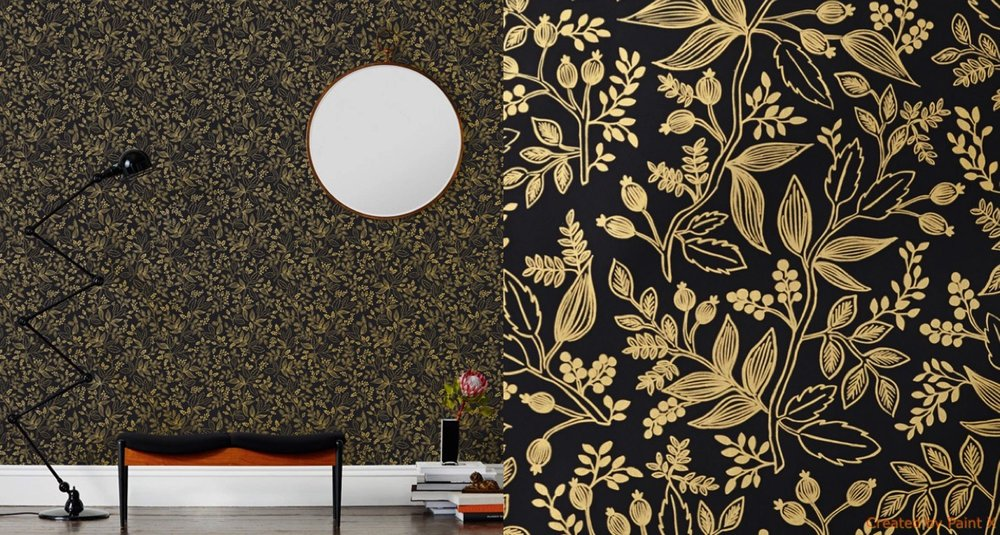 {Not for the faint of heart, this black and gold Queen Anne print is the perfect fit for lovers of all things dramatic. The metallic floral pattern helps to take the edge off of the bold ebony background. I am digging the monochromatic color palette with pops of hot pink and natural wood. From: Rifle Paper Co.}