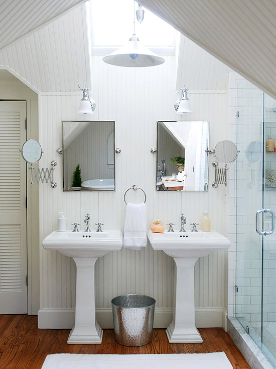 {Tile doesn't always have to be your go-to in a bathroom. Beadboard is a great option for making a subtle, floor to ceiling statement. I am swooning over this bright, cottage-esque bathroom that boasts an ethereal energy. From:  Decor Pad .}