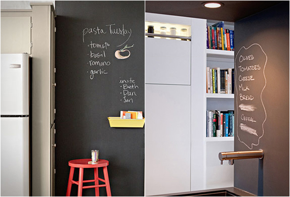 {A complete blackboard paint blackout in this kitchen helps this family to compile grocery lists and meal plan. Imagine the kiddies creatively coloring nearby {on the walls, no less!} while you play chef. You'll never forget to add milk to the list now! From  Rust Oleum .}