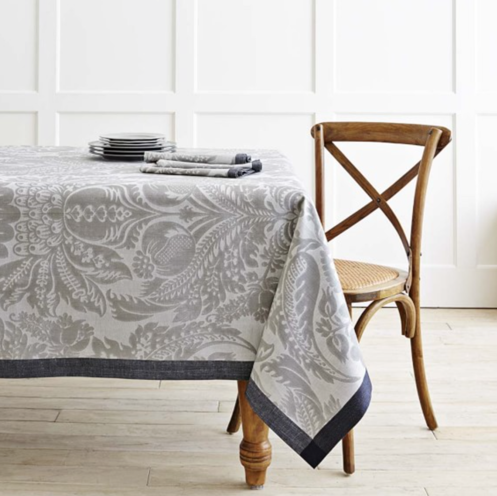 {Jacquard woven, cotton/linen blend tablecloth from  Williams Sonoma .}