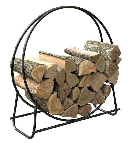 {This hoop log rack is a sleek, fresh approach to displaying your cut firewood than the more traditional boxy designs. From: Open Heath Collection by Panacea, available here.}