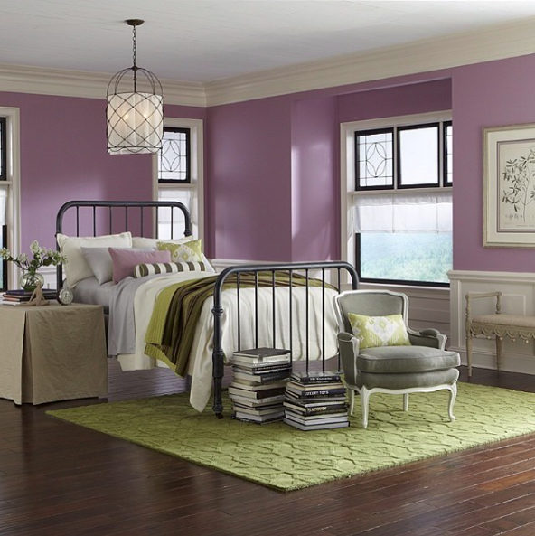 {In contrast, a more muted, softer tone evokes a soothing vibe in this master bedroom. From:  Sherwin WIlliams .}
