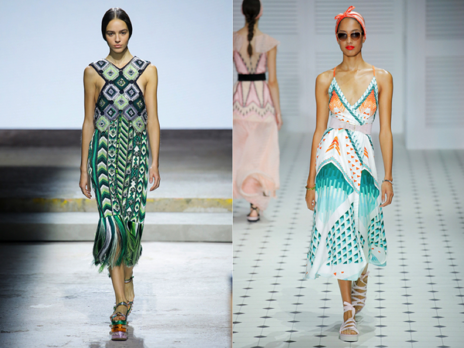 {Left:  Mary Katrantzou . Right:  Temperley London .}