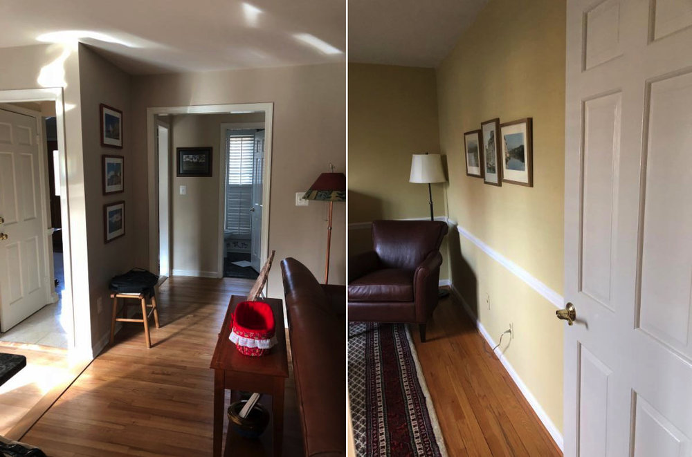 {BEFORE: The door to the basement (left) was in a closed off hallway; right: the sitting room on the other side of the wall we removed.}
