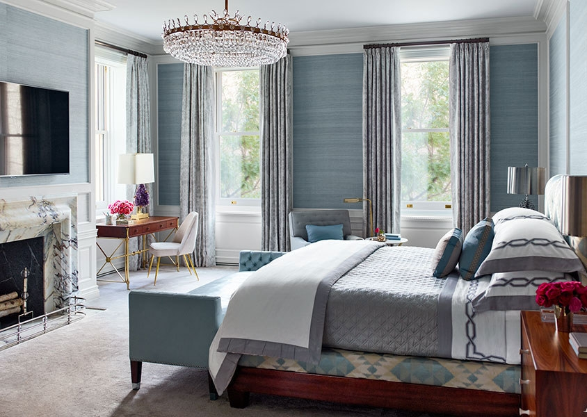 {This bedroom chandelier is a lovely focal point in this soothing master bedroom.  Design by Steven Gambrel, image from Architectural Design .}