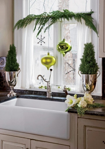 {Kitchen whimsy, evergreens, silver and ornaments!}