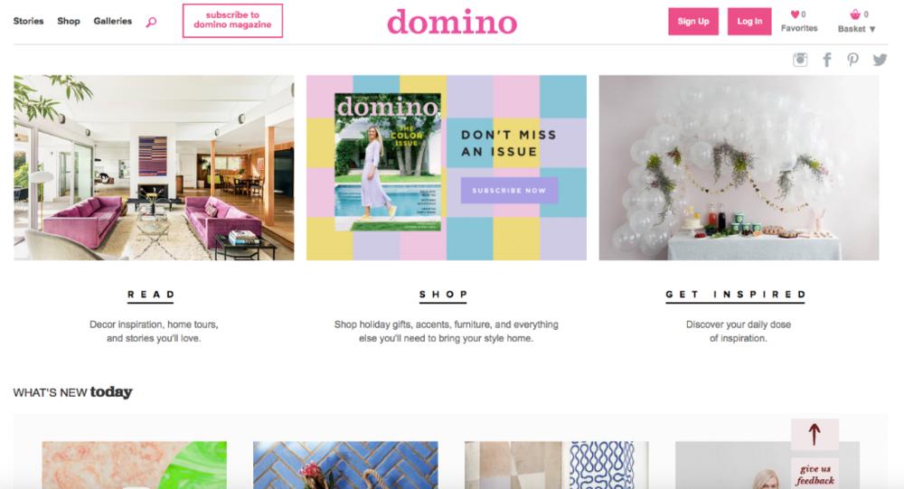 Domino Magazine Website Homepage