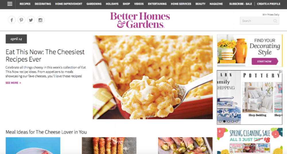 Better Homes and Gardens Homepage Website