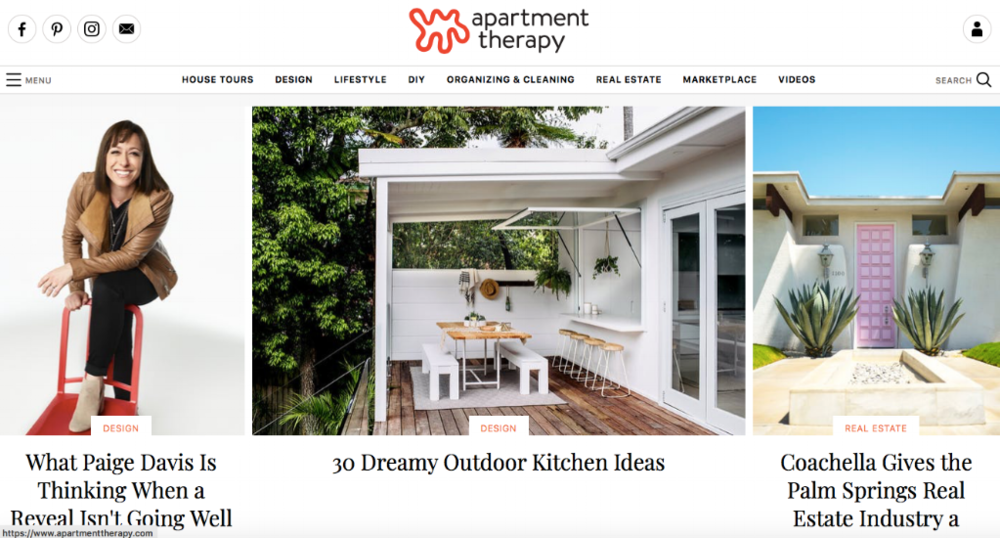 Apartment Therapy Homepage Website
