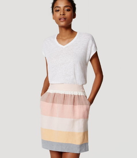 {This playful, striped skirt is a picture-perfect palette to help get your creative juices flowing. From:  Loft .}