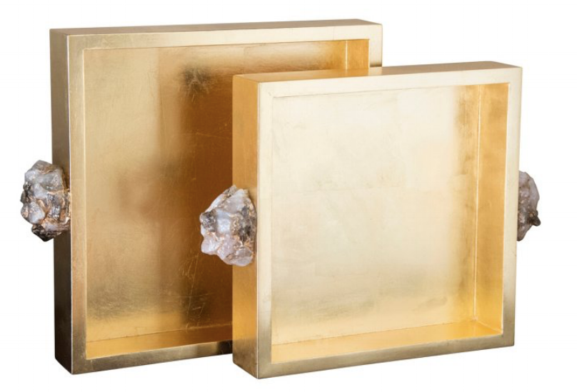 {Taking the name quite literally, these gold lacquered trays boast rose-colored quartz, From:  One Kings Lane .}
