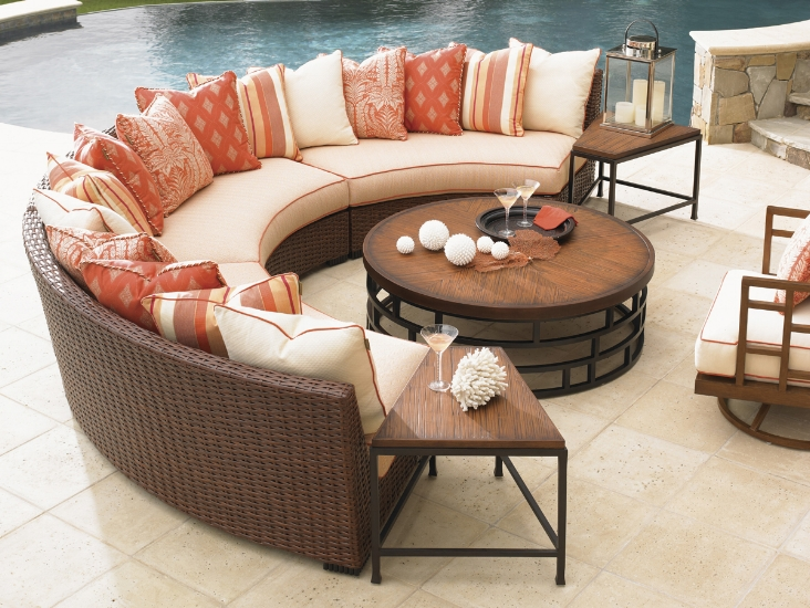 {Imagine how many people you can squeeze onto these armless sectionals! From:  Lexington .}