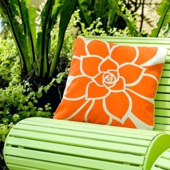 {Go bold or go home. This vibrant outdoor pillow completes this chair! From:  Wabisabi Green .}