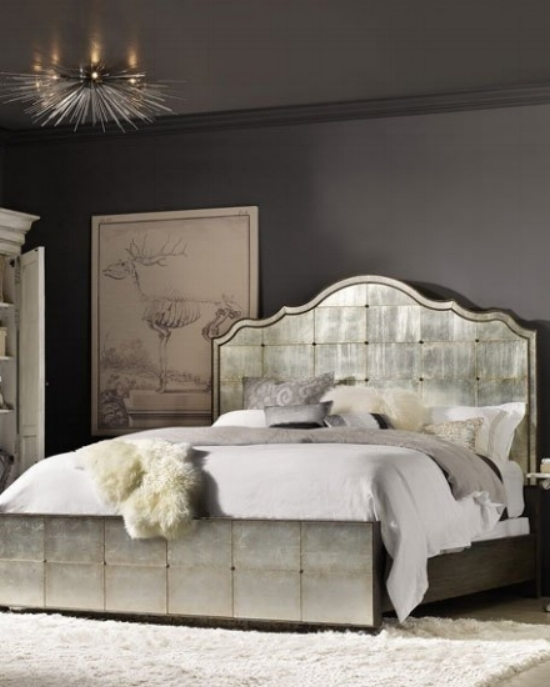 {The metallic bed frame brightens the space by reflecting light and adds a chic, sophisticated vibe, too – perfect for sweet dreams. From:  Horchow .}